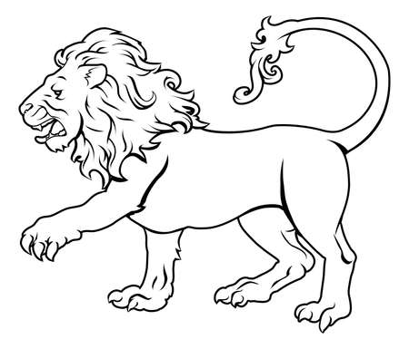 fortune graphics: An illustration of a stylised black lion perhaps a lion tattoo Illustration