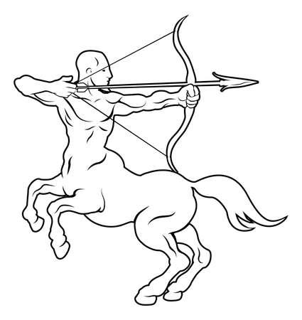 sagitario: Una ilustraci?n estilizada de un centauro arquero negro tal vez un centauro arquero tatuaje