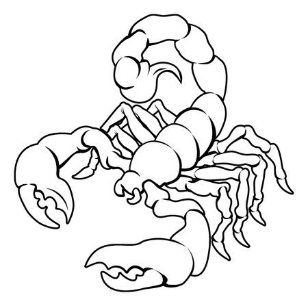 An illustration of a stylised black scorpion perhaps a scorpion tattoo Vector