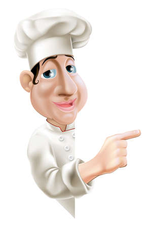 french bakery: A fun cartoon chef pointing sideways at a sign or banner