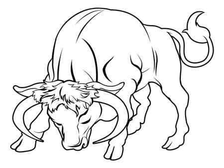 황소 자리: 아마 황소 문신 양식에 일치시키는 검은 황소의 그림