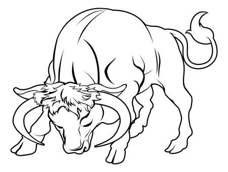An illustration of a stylised black bull perhaps a bull tattoo Vector
