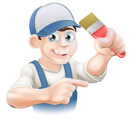properties: Illustration of a cartoon painter decorator in a cap pointing Illustration