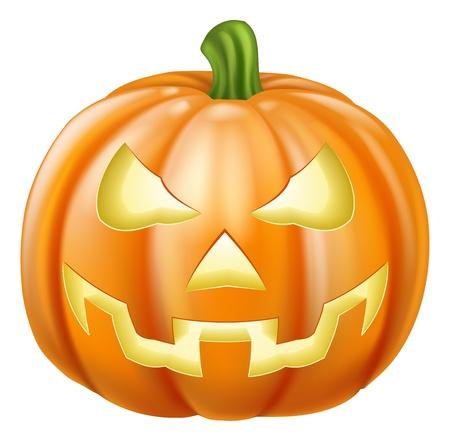 jack o lantern: Illustration of a carved Halloween pumpkin or jack o lantern