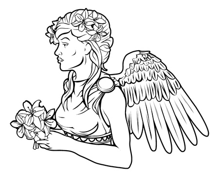 starsign: An illustration of a stylised black angel woman perhaps an angel tattoo