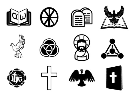 A Christian religious icon set with signs and symbols related to Christian themes Vector