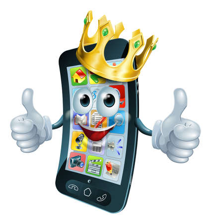 aplication: A cute happy cartoon phone man king with thumbs up and gold crown on his head Illustration