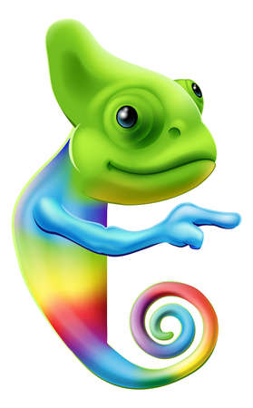 peeking: An illustration of a cute cartoon rainbow coloured chameleon pointing round a sign or banner