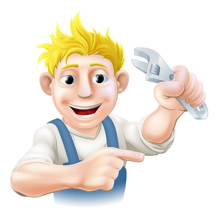 plummer: A plumber, mechanic or engineer in overalls pointing and holding an adjustable spanner or wrench