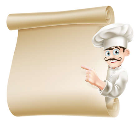 cuisine: Illustration of a happy cartoon chef pointing at menu