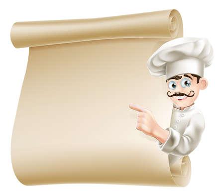 merken: Illustration von einem glücklichen Cartoon-Chef zeigte auf Menü
