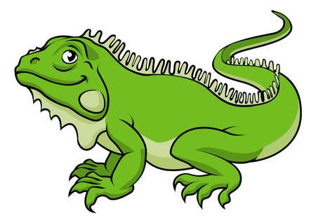 lagartija: Una ilustración de un lagarto iguana verde de dibujos animados feliz