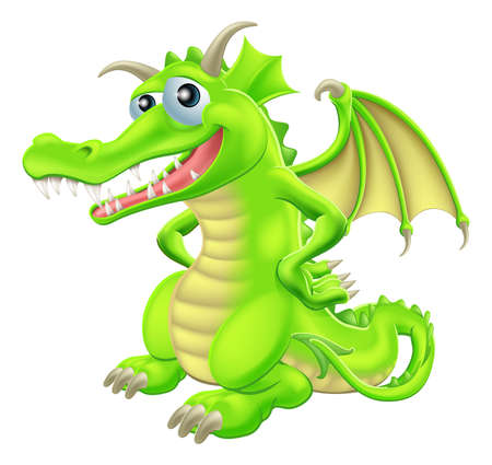 fantasy dragon: An illustration of a green cartoon happy dragon character standing with hand on hips