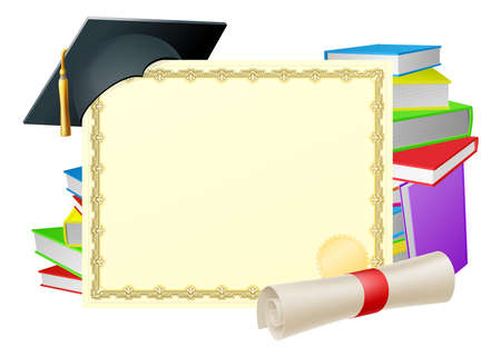 graduation background: Certificate with copy-space and scroll diploma, books and mortar board graduation cap