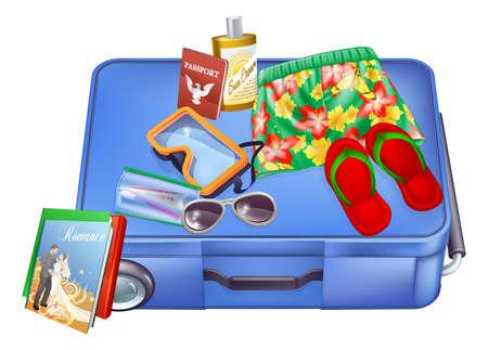 packing suitcase: Un esempio di una valigia con oggetti vacanze su di esso pronto per l'imballaggio o appena stato spacchettato. Include il passaporto, occhiali da sole, crema solare, pantaloncini hawaiani ecc