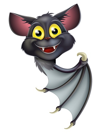 A happy cartoon black bat, perhaps a Halloween vampire bat, peeking round a banner and pointing