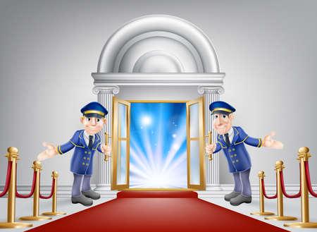 termine: Erstklassige Behandlung konzeptionelle Illustration. Ein Veranstaltungsort Eingang mit einem roten Teppich und rotem Samt Seil und zwei freundlichen Portiers in Uniform begrüßt in einem VIP-Gast.