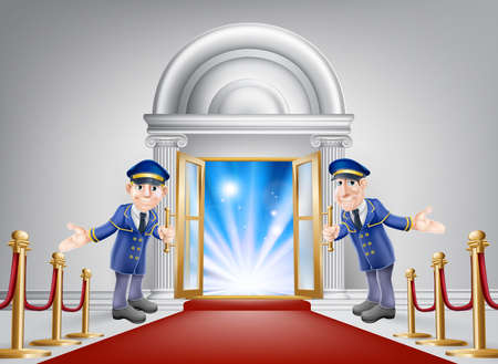 entrance: First class treatment conceptual illustration. A venue entrance with a red carpet and red velvet rope and two friendly doormen in uniform welcoming in a VIP guest. Illustration