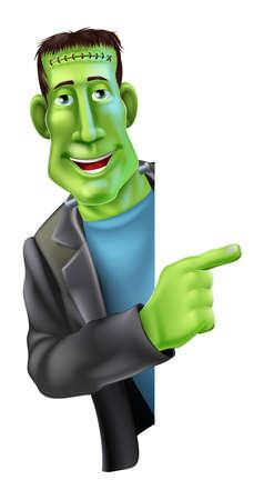 scar: Een afbeelding van een vriendelijke cartoon Halloween monster van Frankenstein karakter gluren uit rond een banner en wijst