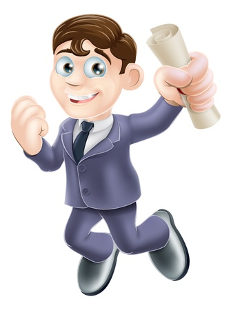 Cartoon businessman with certificate, qualification or other scroll jumping for joy with fist clenched. Education concept for learning, training or passing a professional examination especially career development. Stock Vector - 20720695