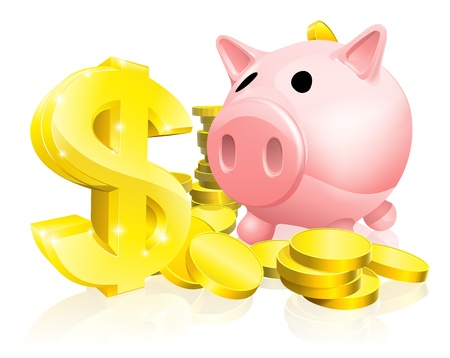 bank rate: Illustration of a pink piggy bank with lots of gold coins and a big dollar sign or symbol