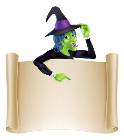 An illustration of a cartoon witch character pointing at a scroll sign. Perfect for your Halloween sign or message  Vector