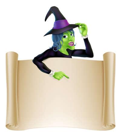 brujas caricatura: Una ilustraci�n de un personaje de dibujos animados de brujas se�alando un signo de desplazamiento. Perfecto para su Halloween signo o mensaje