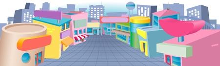 escaparates de tiendas: Una calle colorida de la historieta de tiendas con signos en blanco