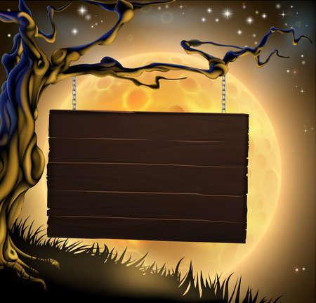 uitnodigen: Een enge Halloween houten bord opknoping van een griezelige boom klaar voor uw bericht Stock Illustratie