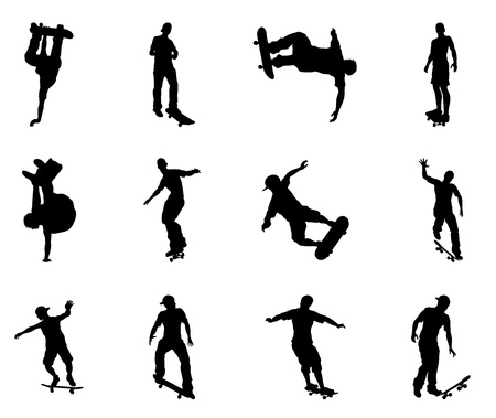 Skateboarders performing lots of tricks on their boards. Very high quality detailed skating skateboarder silhouette outlines. Vector