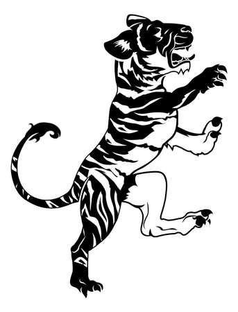 rampant: An illustration of a stylised tiger perhaps a tiger tattoo Illustration