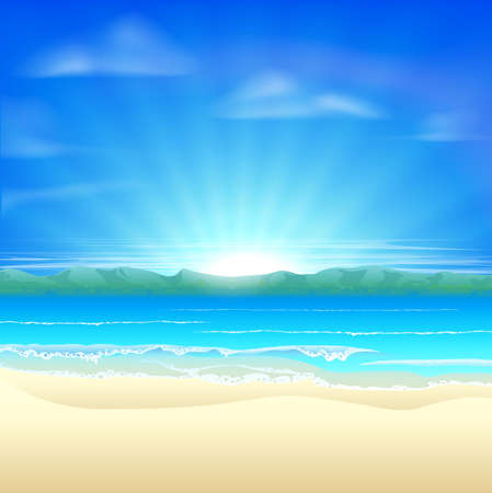 Summer sand beach background illustration of a beautiful beach at sunrise Stock Vector - 20911384