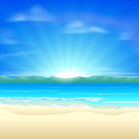 springbreak: Summer sand beach background illustration of a beautiful beach at sunrise