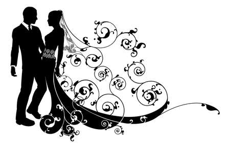 An illustration of a bride and groom wedding couple in silhouette with beautiful bridal dress and abstract floral pattern. Could be having their first dance.  Vector