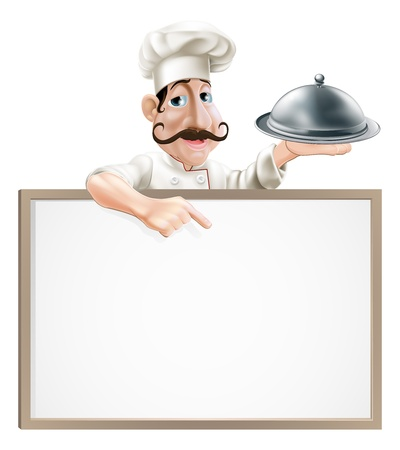 Illustration of a chef character holding a cloche and pointing down at a sign Illustration