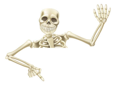 skeleton: An illustration of a cartoon Halloween Mummy pointing down at a sign or scroll and waving Illustration