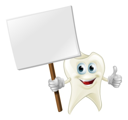 An illustration of a cartoon tooth man character mascot holding a sign Vector