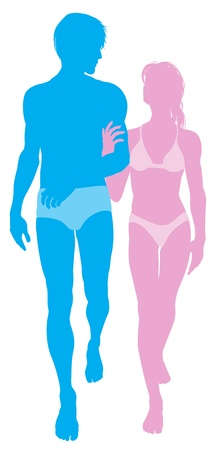 Silhouette illustration of a young couple in love in swimwear walking arm in arm Vector