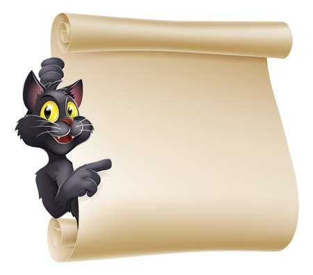 An illustration of a cute cartoon Halloween cat peeping round a scroll sign and showing what is written on it.