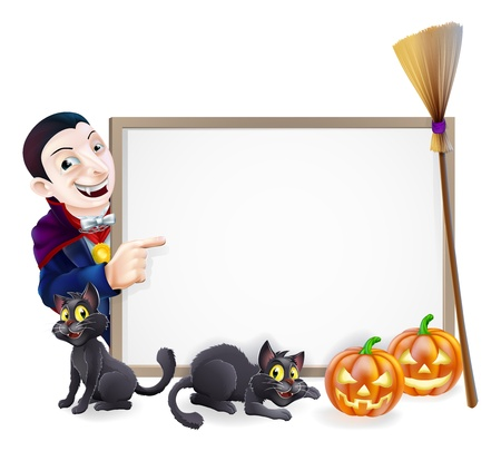 Halloween sign with orange Halloween pumpkins and black witchs cats, witchs broom stick and cartoon Dracula Vampire Character Vector