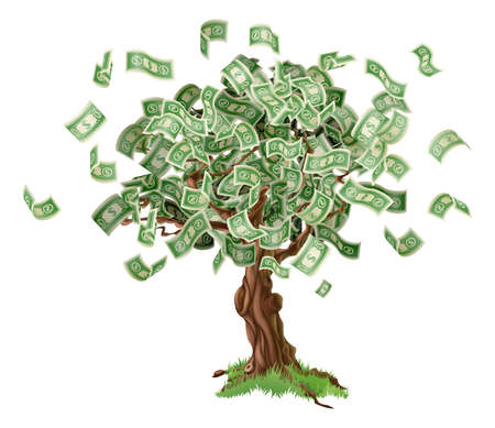 Business or savings concept of a money tree with growing dollar bills or other money. Vector