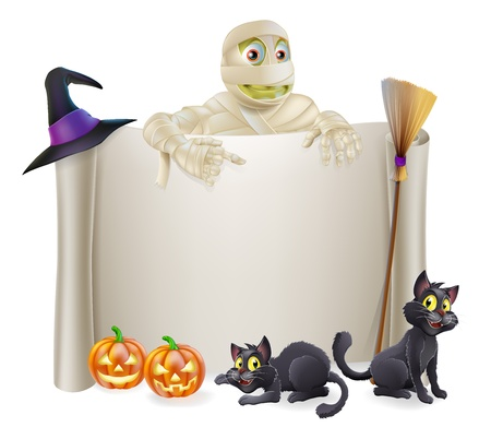 A Halloween scroll sign with a mummy character above the banner and pumpkins, witch Vector