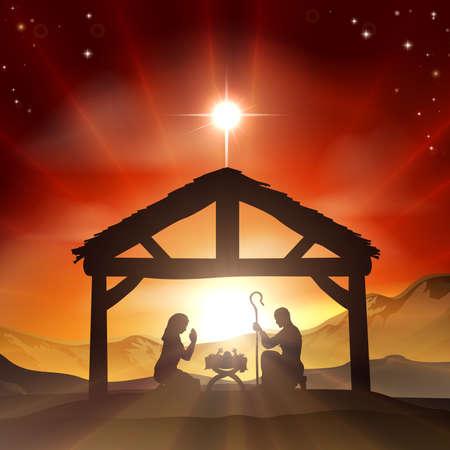 pesebre: Navidad escena de la natividad cristiana con el ni�o Jes�s en el pesebre en la silueta, y la estrella de Bel�n