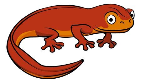 An illustration of a happy cute cartoon newt Vector