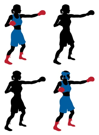 An illustration of a female boxer or boxercise woman boxing or working out  Color and simple silhouette outline versions included, as well as versions with protective headwear and without  Vector