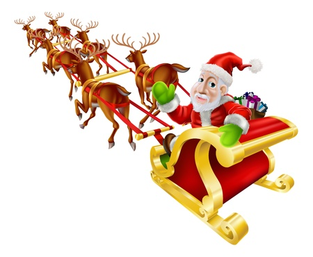 present: Cartoon Christmas illustration of Santa Claus flying in his sled or sleigh with reindeer and a sack of Christmas presents