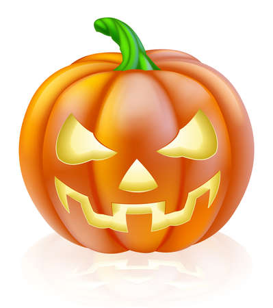 A drawing of a cartoon Halloween pumpkin with classic scary face carved into it Vector