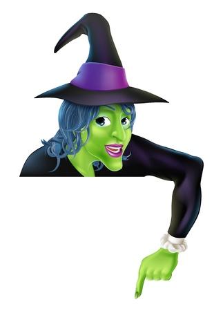 peeping: Dibujo de una bruja de Halloween de dibujos animados amistosa que mira furtivamente sobre un signo y apuntando