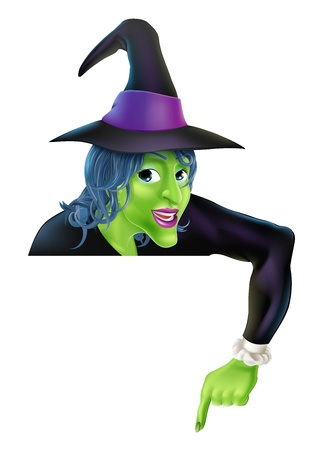 Drawing of a friendly cartoon Halloween witch peeping over a sign and pointing Vector