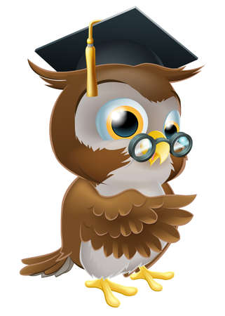 wise old owl: An illustration of a smart owl wearing a mortar board graduation cap and spectacles and pointing